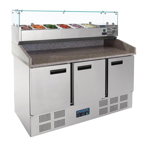 Polar Pizza/Sandwich Prepair Counter 368 liter met 3 deuren