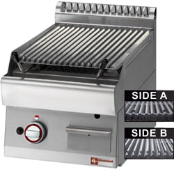 "Diamond Gas Lavasteengrill bakrooster in gietijzer ""double face"" 1/2 module"