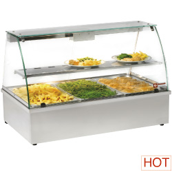 Diamond panoramische Warmhoudvitrine Bain-Marie 3x GN 1/1
